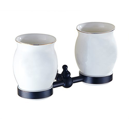 Aothpher Wall Mounted Lavatory Double Tumbler Holders Bathroom Toothbrush Holders with Two Ceramic Cups Oil Rubbed Bronze