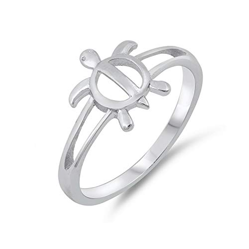 Simple Cute Turtle 925 Sterling Silver Vacation Beach Symbol Ring
