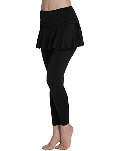ts Skirted Leggings Yoga Skirts with Spandex Tights Athletic Tennis Skorts Gym Active Running Bottoms Moisture Wicking Fashion Solid Color Black Size XL ()
