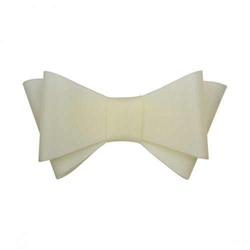 7 Inch Jelly Bow Clip Plastic Hair Clips - Off White ()
