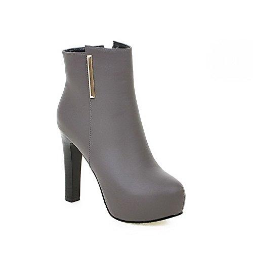 AllhqFashion Women's Low top Zipper Soft Material High-Heels B01M1DG2OK Round Closed Toe Boots B01M1DG2OK High-Heels Parent 8125c2
