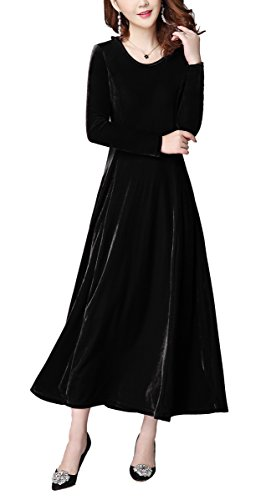 Urban GoCo Mujeres Elegante Vestidos Terciopelo Largo Vestido Manga Larga Maxi Vestidos para Cóctel Fiesta Negro