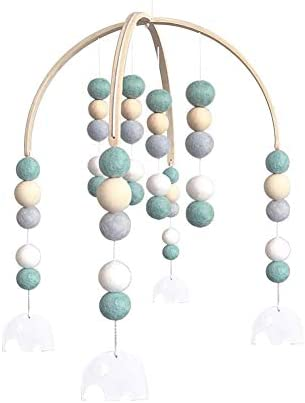 Gyratedream Baby Rattles Mobile//Wool Ball Wooden Beads Wind Bell Bed Bell 50cm 30