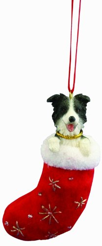 Border Collie Christmas Stocking Ornament with