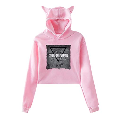 Sweatshirt Coheed and Cambria Women's Long Sleeved Cat Ears Belly Button Sweatshirt, Soft and Comfortable Pink XL