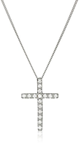 (Sterling Silver and Swarovski Zirconia Cross Pendant Necklace)