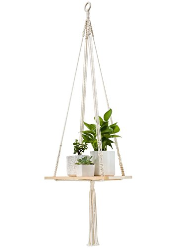 Mkono Macrame Plant Shelf Indoor Hanging Planter Decorative Flower Pot Holder Boho Bohemian Home Decor