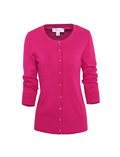 (Escalier Women's Cardigans 3 4 Sleeve Button Down Basic Soft Knit Cardigan Sweaters Rose Red)