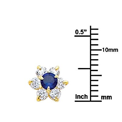 September Wellingsale 14K Yellow Gold Polished Flower Birth CZ Cubic Zirconia Stone Stud Earrings With Screw Back