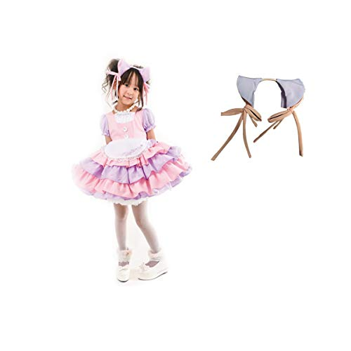 Girl 's Cat Ear French Maid Costume with Apron, 2 Pieces Fancy Dress for Halloween Cosplay (110) Pink -