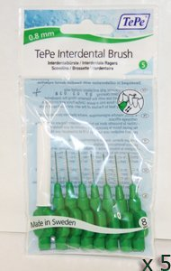Green TePe Interdental Brushes 0.8mm - 5 Packets of 8 (40 Brushes)