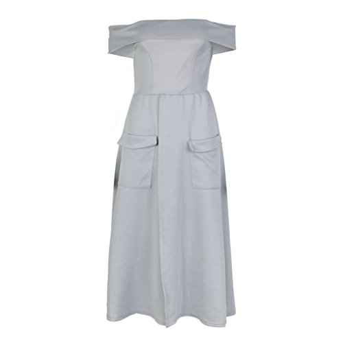 Janly bifurkation Design Kleider für Elegante Frau Uni Off Schulter ...
