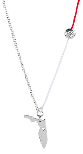 Corjent Florida Official State Charm Necklace, CZ and Gold Plated (White, Gold-Plated-Brass) ()