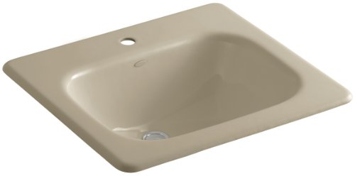 KOHLER K-2895-1-33 Tahoe Self-Rimming Bathroom Sink with Single-Hole Faucet Drilling, Mexican Sand