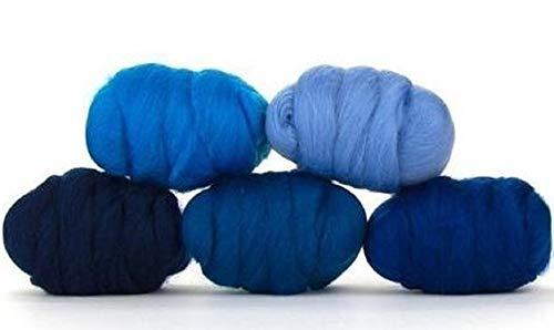 Paradise Fibers Mixed Merino Wool Bag - Delta Blue - Merino Wool Fiber Lot Perfect for Needle Felting, Wet Felting, Hand Spinning, and Blending ()