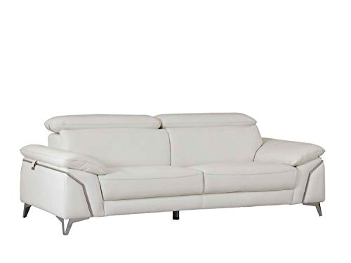 Blackjack Furniture 727-WHITE-S Regal Italian Leather Sofa with Adjustable Headrests, 88