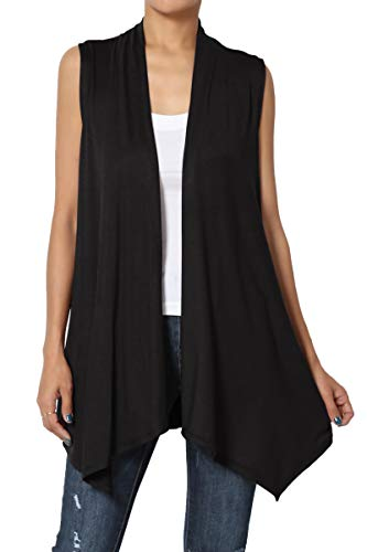 TheMogan Women's Sleeveless Waterfall Jersey Cardigan Asymmetric Vest Black 2XL - Knit Black Vest