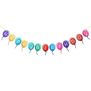 Amosfun Happy Birthday Flag Banner Colorful Paper Banner Party Supplies for Birthday 1pc