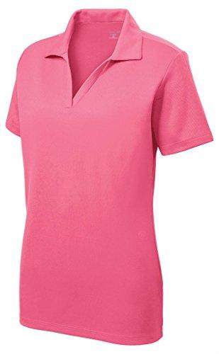 Women's Dri-Equip Short Sleeve Racer Mesh Polo Shirt-M-Pink