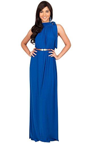 KOH KOH Womens Long Halter Sleeveless Sexy Summer Belted Evening Maxi Dress, Cobalt/Royal Blue M 8-10 (Dinner Cruise Dress)