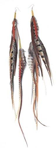 Tektite : Boucles d'oreille plume 20 cm - Ruby Feathers