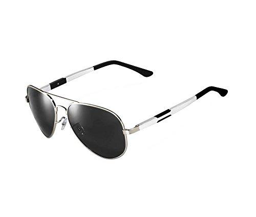 Arctic Star Polarized aviator style sunglasses UV glasses Couple shot glasses (Silver frame black lens, - Sunglasses Mens Hermes