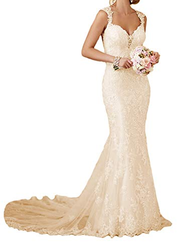 RYANTH Womens Long Lace Wedding Dresses for Bride 2019 Mermaid Sweetheart Bridal Gown R24 Champagne 6