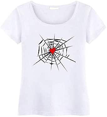 تي شيرت برقبة دائرية مع قلب عنكبوت للنساء
