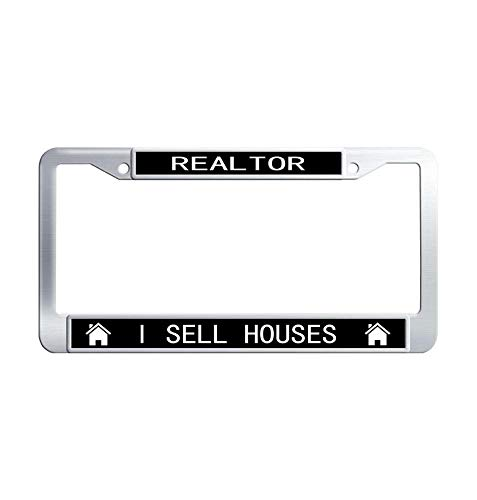 Hensonata Funny Stainless Steel License Plate Frame, Realtor I Sell Houses Car Licence Plate Covers Slim Design with Screw Caps Car Licenses Plate Covers Holders for US Vehicles