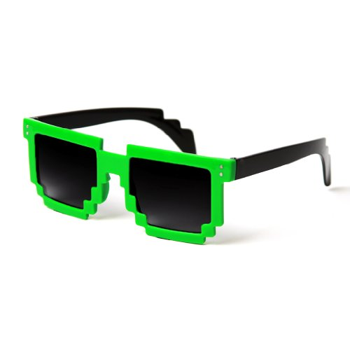 Block Pixelated Sunglasses 8-Bit Pixel Video Gamer Geek Costume Party Favors (Green) ()