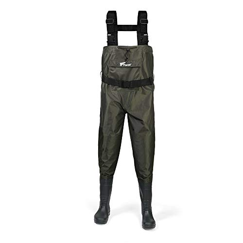 8 Fans Fishing Chest Waders Hunting Bootfoot with Wading Belt Waterproof Insulated Nylon and PVC Cleated Wading Boots for Men Women