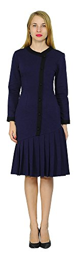 Marycrafts Womens Drop Waist Midi Dress Retro Vintage Flapper 1920s 20 Midnight Blue (Drop Waist Womens Dress)