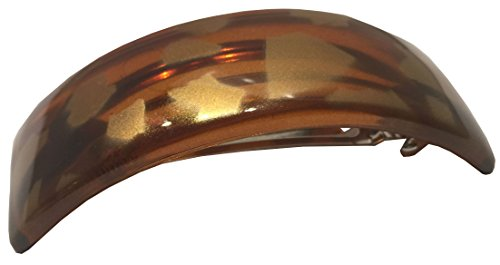 Parcelona French Golden Touch Curved Tortoise Shell Strong Grip Celluloid Automatic Large Hair Clip Hair Barrette