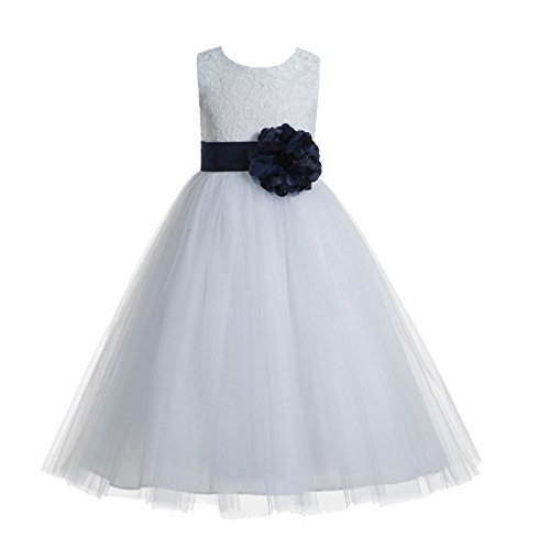 ekidsbridal Floral Lace Heart Cutout White Flower Girl Dresses Marine Blue First Communion Dress Baptism Dresses 172T 2