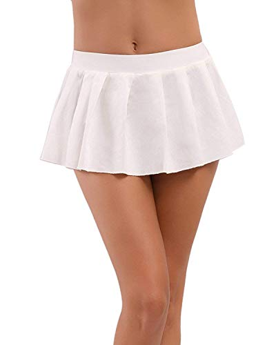 MYIFU Women Sexy Role Play Pleated Mini Skirt Solid Ruffle Lingerie Sleepwear (White, L)