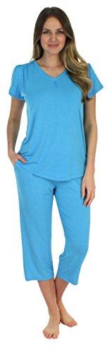 Pajama Heaven Solid Blue Short Sleeve V-Neck with Capris (PHBJ1730-1025-MED)