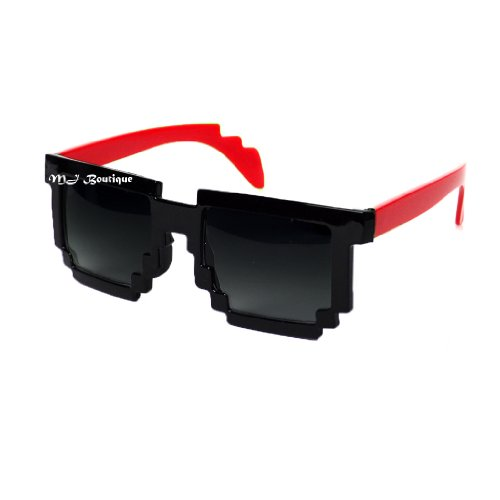 MJ Boutique's 8-Bit Pixel Black & Red Sunglasses Video Game FREE - Sunglasses Video Game