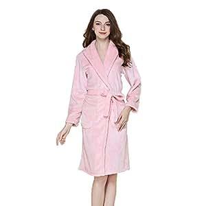 Albornoz Batas De Baño para Mujer Bata Toallas De Baño Pijamas Lujo Extra Largo Suave Relleno Homewear Casual Bolsillos Y Cinturones (Color : E, ...