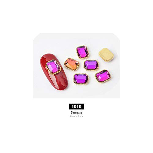 Nail Rhinestones 10Pcs Charm Alloy Base 3D Nail Art Rhinestone Decorations Flat-Back Shiny Crystal Jewelry Diamonds Design Manicure Accessories,1010