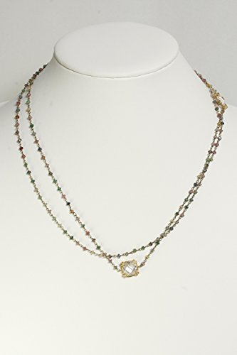 Long Necklace with Multi Colored Sapphire Beads and Cubic Zircon Accents - Multi Colored Sapphire Pendant