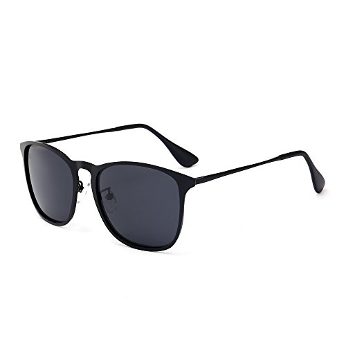 SUNGAIT Stylish Aluminum Chris Sunglasses Wayfarer Sun Glasses For Men Women(Black Frame/Grey Lens, 60) 6037HKHU