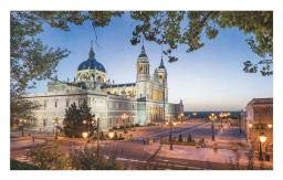 Ambesonne European Doormat, Old Cathedral and Royal Palace in Madrid Mediterrenean City Europe Urban Print, Decorative Polyester Floor Mat with Non-Skid Backing, 30 W X 18 L Inches, Multicolor