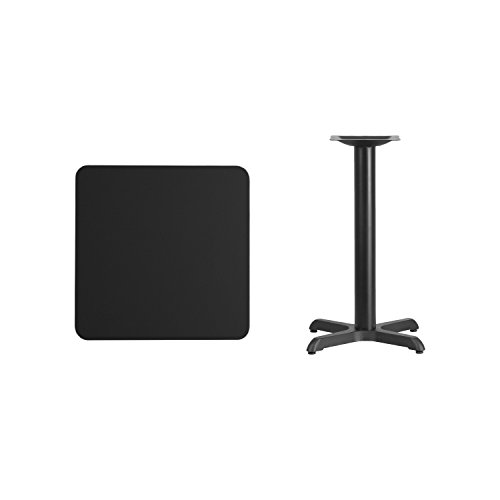 Flash Furniture 24'' Square Black Laminate Table Top with 22'' x 22'' Table Height Base -