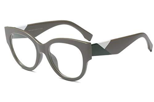 Allt Vintage Cat Eye Optical Eyewear Non-prescription Mod Eyeglasses Frame Clear Lens For Women (Gray(Green white))