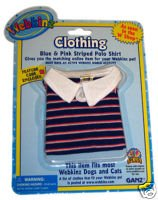 - Webkinz Clothes - Blue and Pink Striped Polo