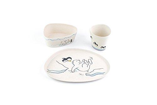Peterson Housewares BF0263018S-43 3 Piece Kids Dinnerware Bamboo Fiber Set, Bear and Penguin by Peterson Housewares