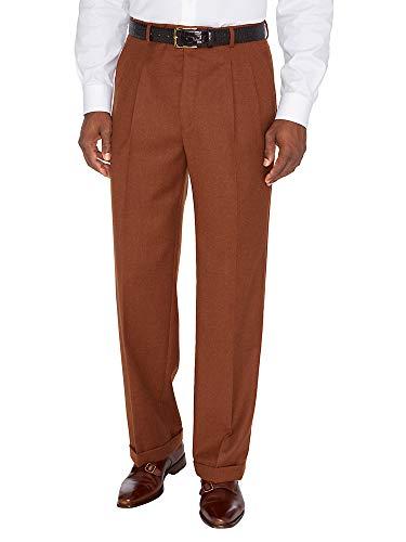 Paul Fredrick Men's Wool \ Cashmere Pleated Pants Burnt Rust 42