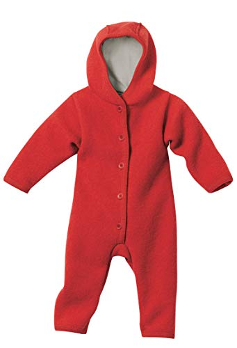 DISANA 100% Organic Boiled Wool Overall Romper Hooded Newborn/Baby Made in Germany (50/56 (0-3 Months), Red)