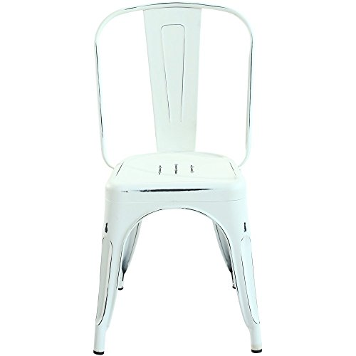 ria Side Chair in Distressed White (Set of 2) (Distressed Metal)