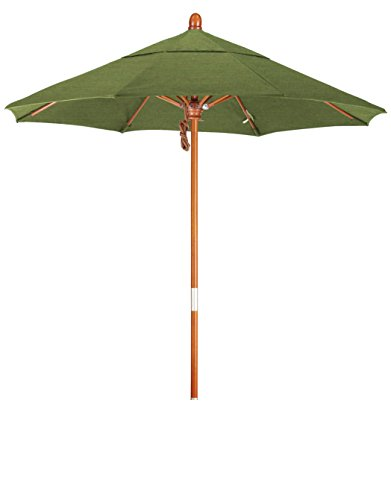Eclipse Collection 7.5' Wood Market Umbrella Pulley Open Marenti Wood/Sunbrella/Spectrum Cilantro